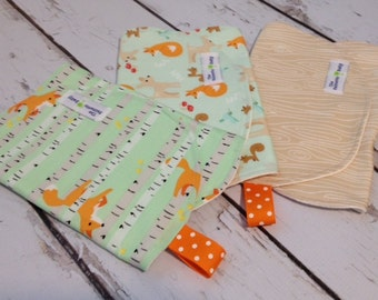 Burp Cloth-Set of 3-Good Natured Collection for Boy or Girl - Fox