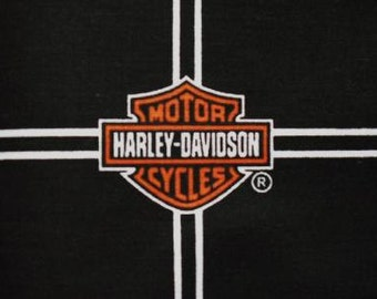 HARLEY DAVIDSON Cotton Quilt Fabric CLASSIC Logo  Allover on Black """"
