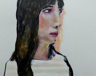 Original acrylic portrait painting // ink drawing // original art on paper // LEE 8