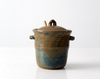 vintage studio pottery honey pot, ceramic kitchen jar