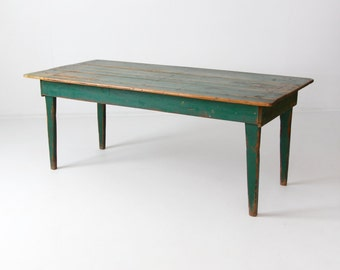 antique green wood table, primitive kitchen table