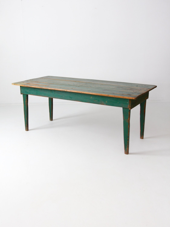 antique green wood table primitive kitchen table farmhouse