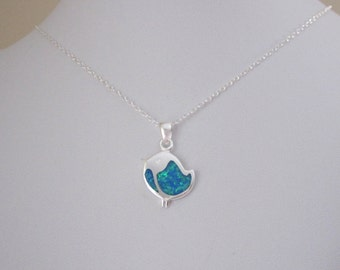 Blue opal BIRD Chick sterling silver pendant with chain necklace