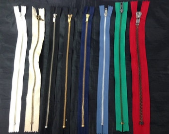 1 Zipper White Ivory Black Red Green Blue 12""