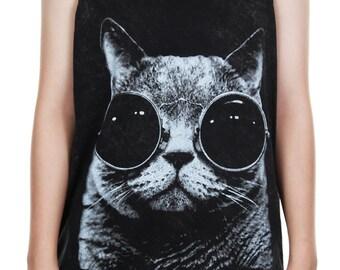Funny Cat with Glasses Tank Top Bleached Stonewashed Animal Art Design Tank Women Shirt Tunic Top Tank Top Size M,L,XL - IZJBT124