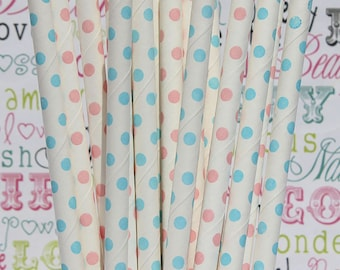 50 Light Blue and Blush Pink Polka Dot Party Straws, Gender Reveal Party Straws, Baby Shower Party Straws