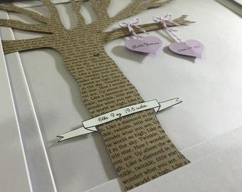 Nursery Decor, Framed Nursery Art, Paper Lullaby Tree, Baby Birth Art, Kids Birthday Art, Baby Gift
