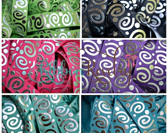 "Silver foil jumbo wonky swirls on grosgrain ribbon 7/8""-  Nautical, patriotic, lime, black, fuschia, purple, tropic, turquoise"