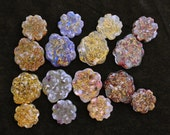 Flower filled Orgonite Mini Energy Generators - Set of two Flower Medallions available in 8 Flower and Stone combinations