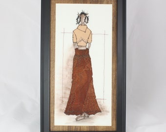 Wall Art Original Fashion Illustration haute couture fashion design high fashion embroidered applique framed art east meets west copper red