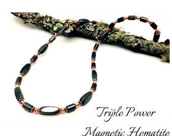 Magnetic Copper Necklace Therapy Triple POWER Hematite Free Gift Card and organza Bag