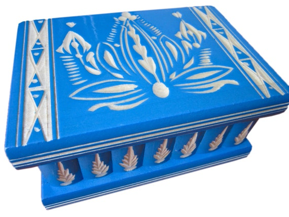 Wooden Jewellery Puzzle Box w/ Secret Compartments with Key (Blue)