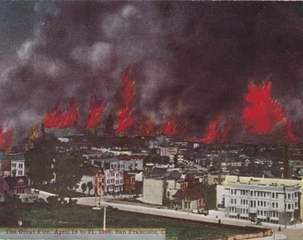 The Great Fire- 1900s Antique Postcard- San Francisco, California- Burning Wildfire- Natural Disaster- Pacific Novelty Co- Paper Ephemera