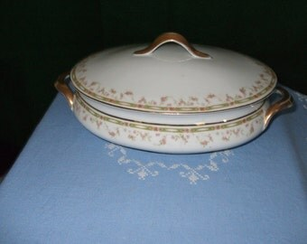 Vintage Bassett China Company Oval Covered Vegetable Bowl--Pattern #12042