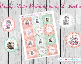 "Vintage Kitty Party Printable 2"" Party circles - Customized"