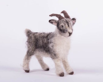 needle felted goat grey and white goat