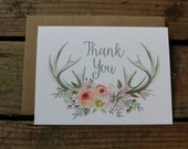Rustic, Romantic Antler Wedding Thank You Cards, Outdoor Wedding, Country Wedding, Watercolor Thank You Note Set