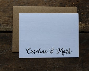 First Name Thank You Cards with Envelopes / Calligraphy Font / Simple / Wedding, Shower, Any Occasion Stationery / Set of 10