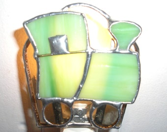 LT Stained glass Train night light lamp made with light and darker lime green opal glass