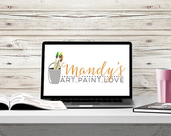 Premade Business Logo Design - Paintbrushes - Art - Painter - Customizable for your business - Predesigned - Option to retire design