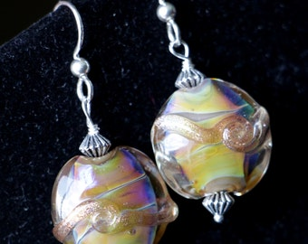 Silver Glass Carmel Butterscotch Lentil Glass Lampworking Sterling Silver Earrings