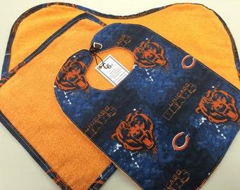 Chicago Bears Baby Bib/Washcloth/Burp Cloth Set_Orange