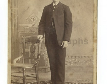 19th Century Young Gentleman - 1800s Cabinet Card Photograph - Portrait w/chair