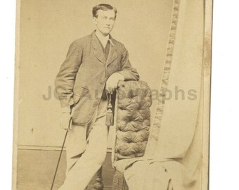 19th Century Young Gentleman w/cane - 1800s Carte-de-visite - Altoone, Pa