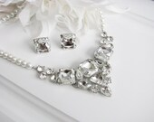 Statement Wedding Necklace in  silver tone and White Swarovski Pearl Great Bridal Wedding Jewelry Pageant Jewelry