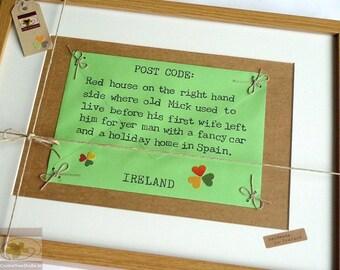 Traditional Irish Post Code - Personalised Wall Art - Funny Nostalgic Framed Keepsake - Handmade in Ireland