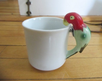 Vintage Porcelain Figural Coffee Mug with a Parrot as the Handle White Hand Painted Bird