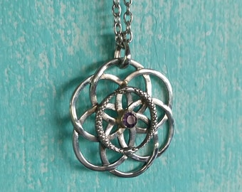 Eternal Serpent Seed Pendant Double Ouroboros Seed Of Life with Amethyst