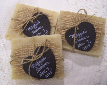 Chalkboard style tags, 50 medium favors soaps, lavender oatmeal organic soaps, bridal shower, wedding favors