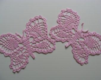 Set of 2 crochet butterflies pink or purple