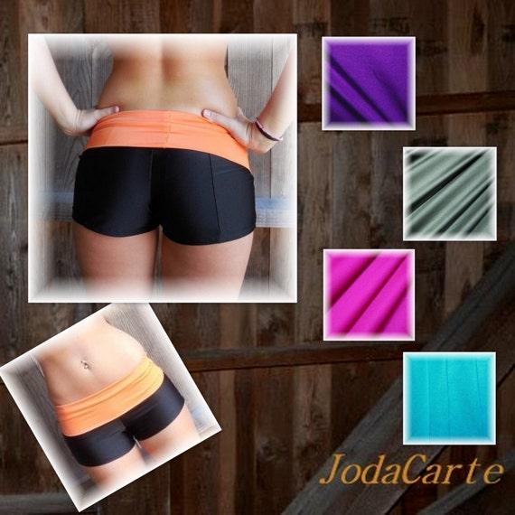 Items Similar To Black Yoga Shorts With Fold-Over Band