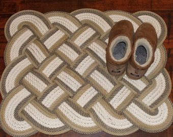 32 x 24 Bathmat Rug Cotton and Natural with Tan Trim Rope Rug Bath Mat Tightly Woven Knotted Nautical Marine Beach Coastal