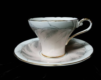 Aynsley Pale Pink on Crisp White Background English Cup and Saucer