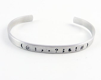 Punctuation Cuff (Ajudstable Bracelet for English Teacher, Writer, Editor Gift)