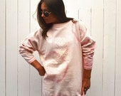 Tie Dye Pullover 90s Vintage White Pink Venice Beach Style Waffle Sweatshirt Top Large