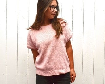 Silk Knit Blouse - 1980s Pink Knit Short Sleeve Sweater - Vintage Preppy Twin Peaks Style - Medium M