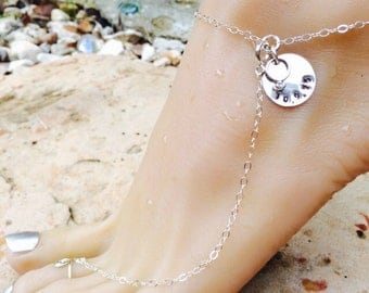 Sterling Silver Adjustable Anklet with Toe Ring. Shoeless Sandal Barefoot Beach Ankle Bracelet Custom Stamped with Date.