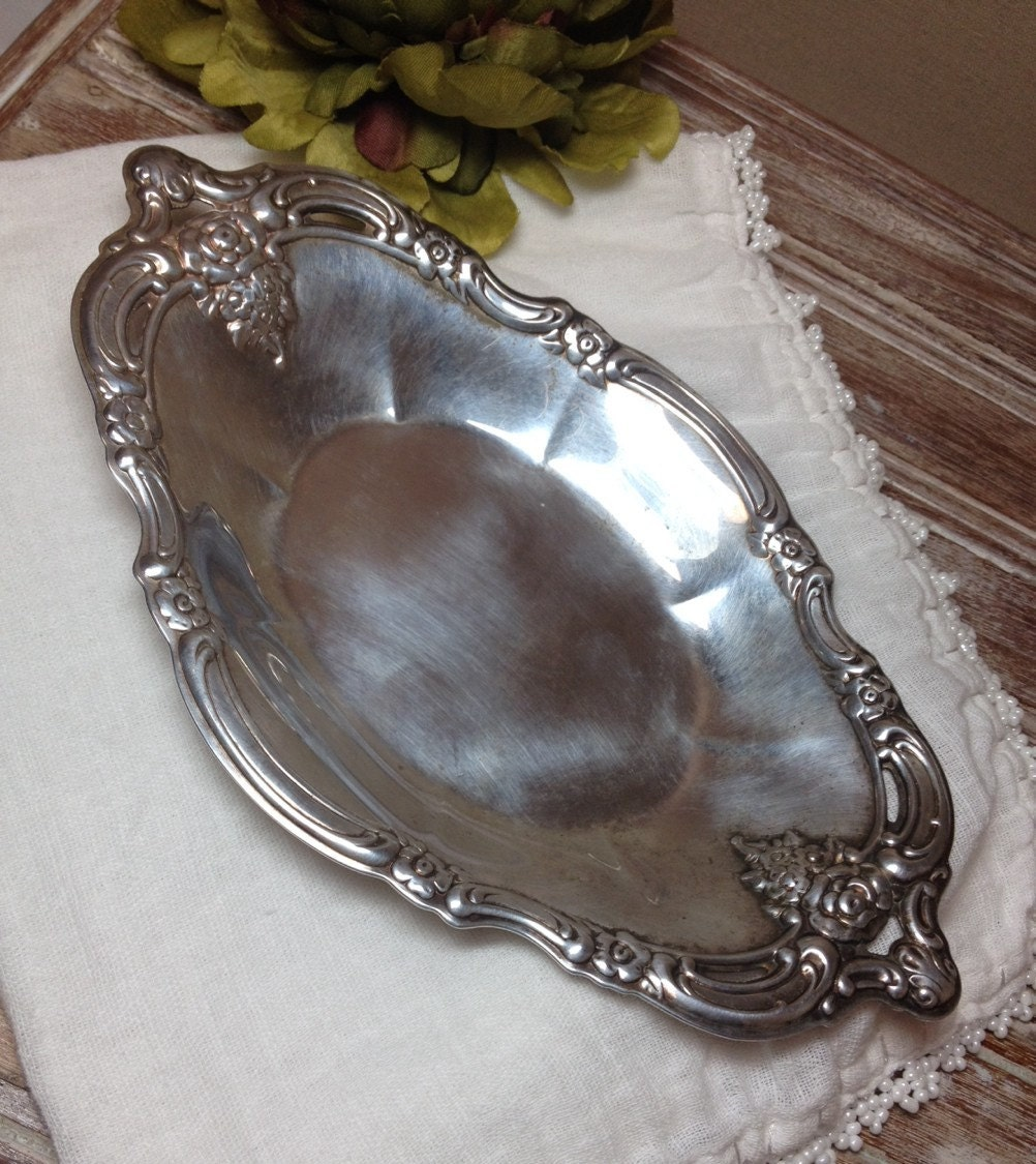 Vintage Silver Plate Tray Community Silverplate Oval Oblong