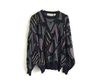 Vintage 1980s Geometric HIPSTER oversized sweater