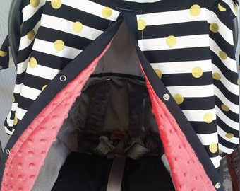Carseat Canopy Black Gold Dot Coral Minky gold coral carseat cover  / car seat canopy / car seat cover / car seat tent/ car seat accessories