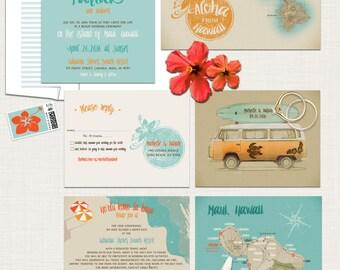 Hawaii Destination Wedding Invitation Oahu Wedding Aloha
