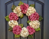 Hydrangea Wreath Spring Wreath Summer Wreath Grapevine Door Wreath Mauve/Rose Cream Hydrangea Floral Door Decoration Indoor Outdoor