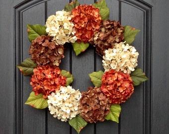 Autumn Wreath Summer Wreath Fall Grapevine Door Wreath Decor Cream Orange Brown Hydrangea
