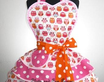 Last One Flirty Orange and Pink Polka Dot Owl Apron