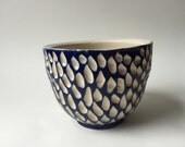 Carved cup in cobalt: FREE US shipping