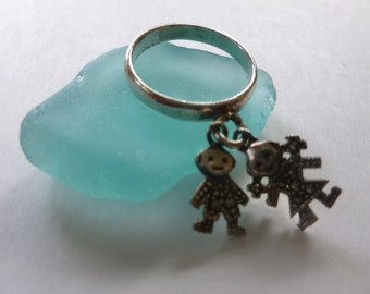 vintage ring, marcasite and sterling charm dangle, boy and girl